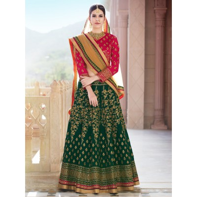 Online Fashion Bazaar Red & Green Banglori Silk Embroidered Semi-Stitched Lehenga Choli