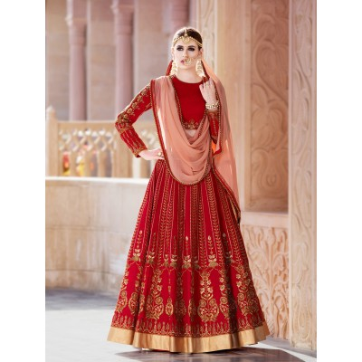 Online Fashion Bazaar Red Mulberry Silk Embroidered Semi-Stitched Lehenga Choli