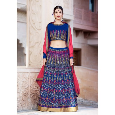 Online Fashion Bazaar Royal blue Banglori Silk Embroidered Semi-Stitched Lehenga Choli
