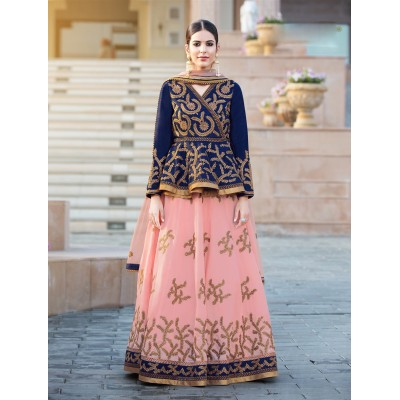 Online Fashion Bazaar Peach and Navy Blue Banglori Silk Embroidered Semi-Stitched Lehenga Choli