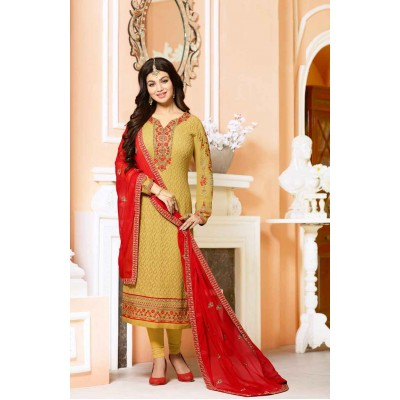 Online Fashion Bazaar Mustard Georgette Embroidered Semi-Stitched Dress Material