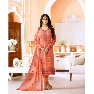 Online Fashion Bazaar Peach Georgette Embroidered Semi-Stitched Dress Material