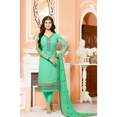 Online Fashion Bazaar Sea Green Georgette Embroidered Semi-Stitched Dress Material