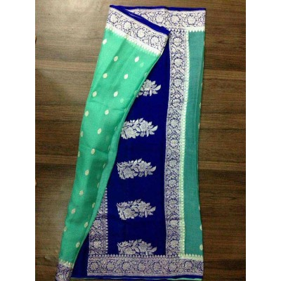 Rehan Fabrics Green Chiffon Zari Worked Saree