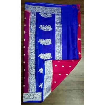 Rehan Fabrics Magenta Chiffon Zari Worked Saree