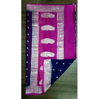 Rehan Fabrics Pink Chiffon Zari Worked Saree