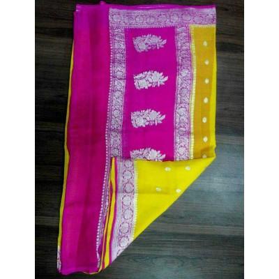 Rehan Fabrics Yellow Chiffon Zari Worked Saree