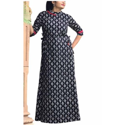 Fabmaza Fashion Black Pure Cotton Slub Printed Flared Kurta