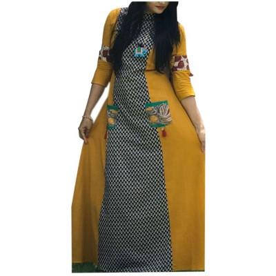 Fabmaza Fashion Yellow Pure Cotton Slub Printed Flared Kurta