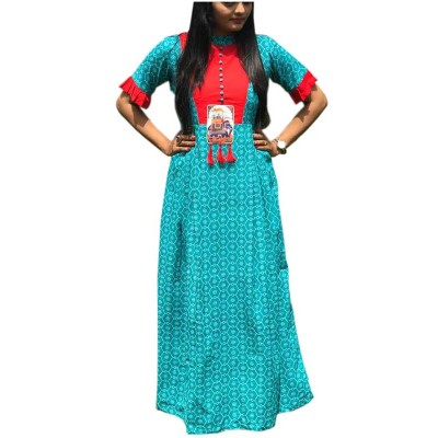 Fabmaza Fashion Blue Pure Cotton Slub Printed Flared Kurta