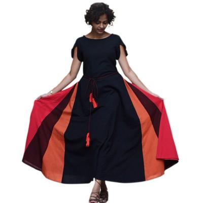Fabmaza Fashion Black Cotton Digital printed Flared Kurta