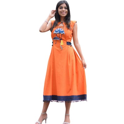 Fabmaza Fashion Orange Cotton Embroidered Straight Kurta