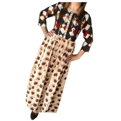 Fabmaza Fashion Cream Cotton Printed Flared Kurta