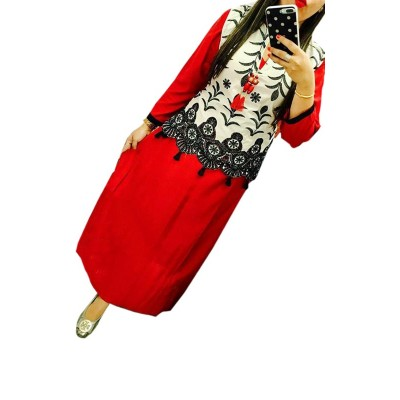 Fabmaza Fashion Red Rayon Embroidered Straight Kurta