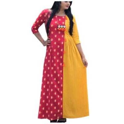 Fabmaza Fashion Yellow & Red Pure Cotton Slub Printed Flared Kurta