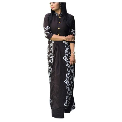 Fabmaza Fashion Brown Pure Cotton Slub Printed Flared Kurta
