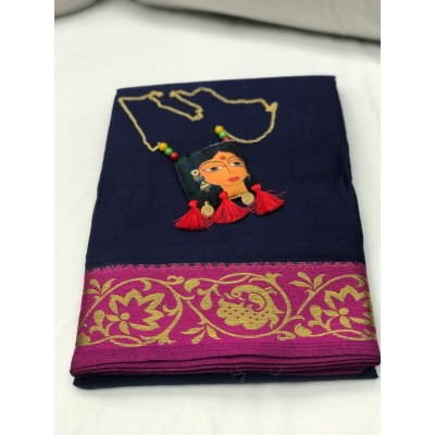 Fabmaza Fashion Navy Blue Pure Manali Cotton Silk Saree