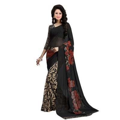 Fabmaza Fashion Black Georgette Printed Saree