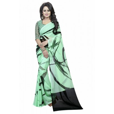 Fabmaza Fashion Sea Green Georgette Printed Saree