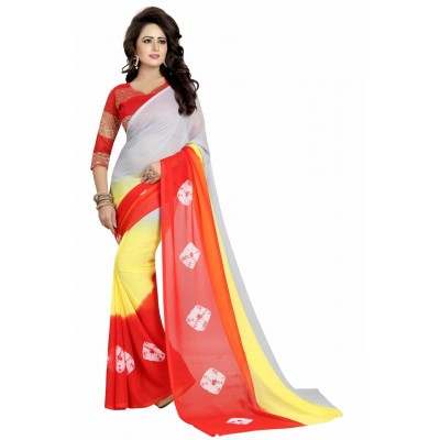 Fabmaza Fashion Ash Georgette Diamond Printed Saree