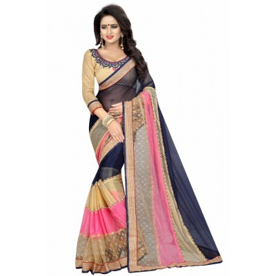 Fabmaza Fashion Navy Blue Georgette Printed Saree