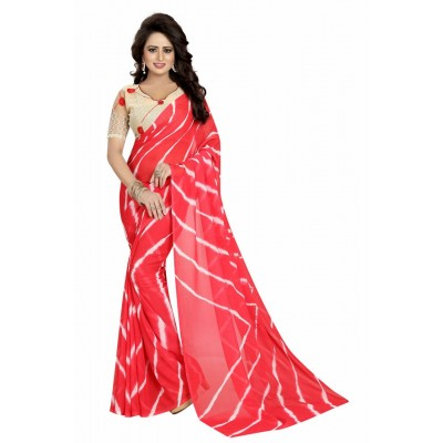 Fabmaza Fashion Orange Georgette Printed Saree