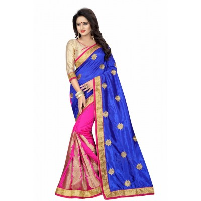 Fabmaza Fashion Blue Silk Zari Bordered Saree