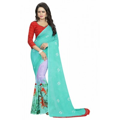 Fabmaza Fashion Sky Blue Georgette Printed Saree