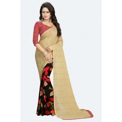 Fabmaza Fashion Beige Georgette Printed Saree