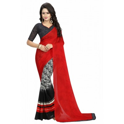 Fabmaza Fashion Red Georgette Printed Saree
