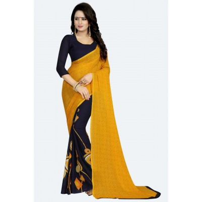 Fabmaza Fashion Yellow Georgette Printed Saree