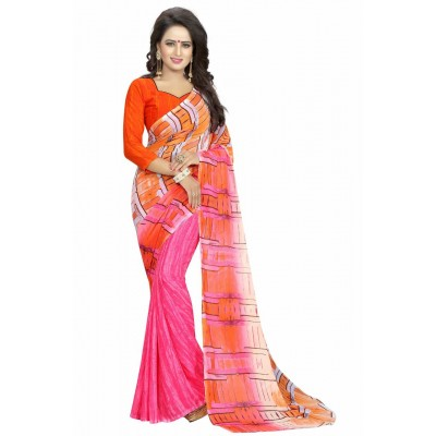 Fabmaza Fashion Multi Colour Georgette Printed Saree