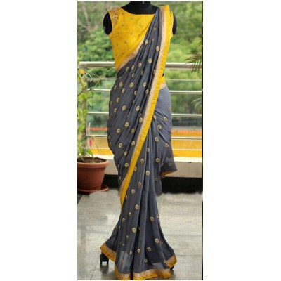 Fabmaza Fashion Yellow Georgette Embroidered Saree