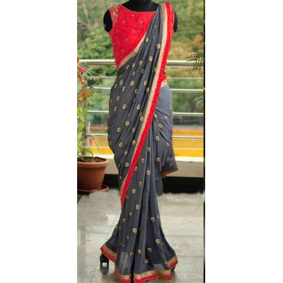 Fabmaza Fashion Red Georgette Embroidered Saree