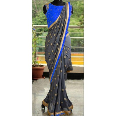 Fabmaza Fashion Blue Georgette Embroidered Saree
