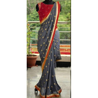 Fabmaza Fashion Maroon Georgette Embroidered Saree