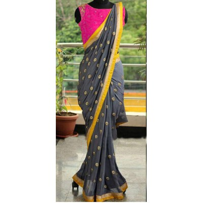 Fabmaza Fashion Pink Georgette Embroidered Saree