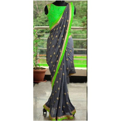 Fabmaza Fashion Green Georgette Embroidered Saree