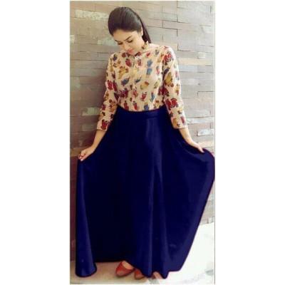 Fabmaza Fashion Blue Georgette Gown