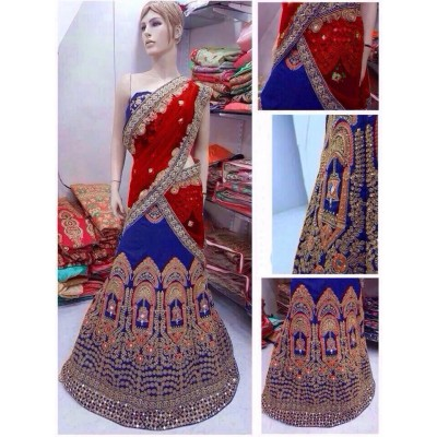 Fabmaza Fashion Red Banglori Silk Embroidered Semi-Stitched Lehenga Choli