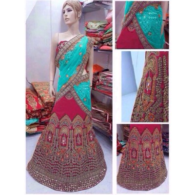 Fabmaza Fashion Blue Banglori Silk Embroidered Semi-Stitched Lehenga Choli