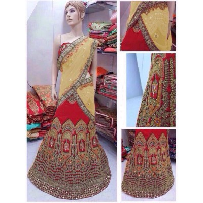 Fabmaza Fashion Yellow Banglori Silk Embroidered Semi-Stitched Lehenga Choli
