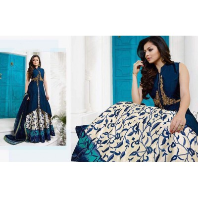 Fabmaza Fashion Blue Taffeta Silk Digital printed Semi-Stitched Dress Material