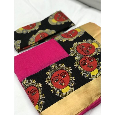 Fabmaza Fashion Pink Chanderi Cotton Kalamkari Printed Saree