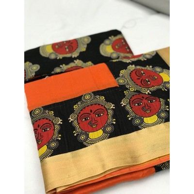 Fabmaza Fashion Orange Chanderi Cotton Kalamkari Printed Saree