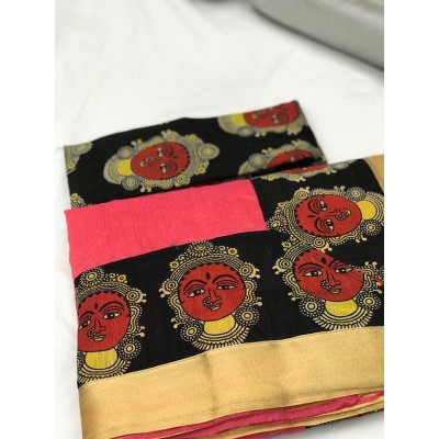 Fabmaza Fashion Peach Chanderi Cotton Kalamkari Printed Saree