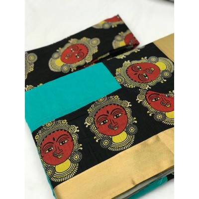 Fabmaza Fashion Sky Blue Chanderi Cotton Kalamkari Printed Saree