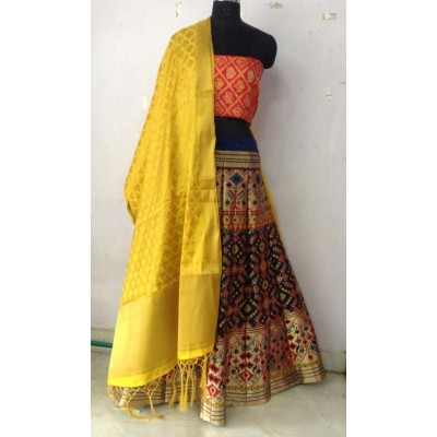 Fabmaza Fashion Multi Colour Broket Embroidered Semi-Stitched Lehenga Choli