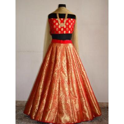 Fabmaza Fashion Orange Banarasi Silk Embroidered Semi-Stitched Lehenga Choli