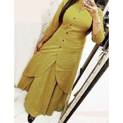 Fabmaza Fashion Khaki Slub Cotton Fancy Designer Slit Kurta
